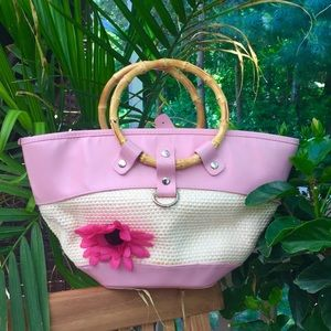 Pink flower Straw Tote With Bamboo Handles